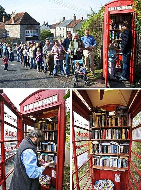 Westbury Book Exchange, an old telephone booth